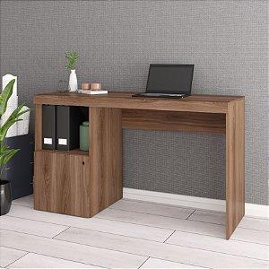 Escrivaninha 1 Porta 2 Nichos Office Castanho com Bordas  - BRV Móveis