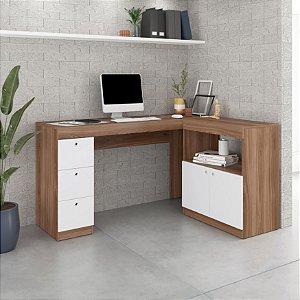 Escrivaninha 2 Portas 3 Gavetas Office  Castanho/Branco- BRV Móveis