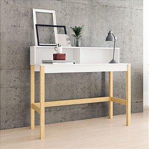 Mesa de Computador 2 Nichos Office Branco com Pinus  - BRV Móveis