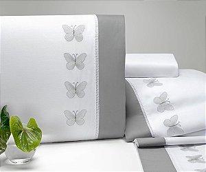 Jogo de Lençol Papillons Queen 04 Peças - Cinza