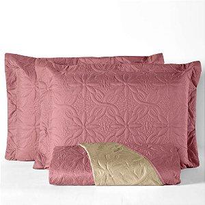 Cobre leito Dupla Face Floral Casal Padrão 3 peças - Rosê