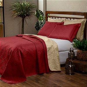 Cobre leito Dupla Face Floral Casal Padrão 3 peças - Vermelho