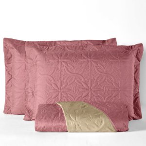 Cobre leito Dupla Face Floral Casal Queen 3 peças - Rosê