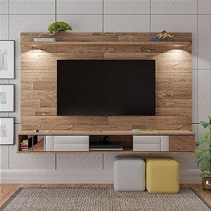 Painel De TV até 55 Polegadas Rústico Platinum Com Espelho e Iluminação Led