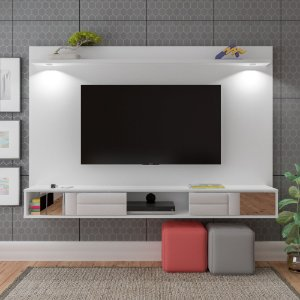 Painel De TV até 55 Polegadas Platinum  C/ Espelho Led Branco Artely