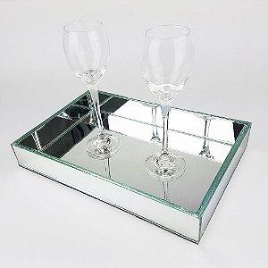 Kit de Bandejas  Espelhada 6 pçs  30x20x4 cm Para  Sala de Jantar