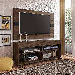 Rack Com Painel Cross Para Tv Até 42 Polegadas Amêndoa/Preto
