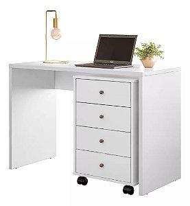 Escrivaninha Para Notebook Office Presence com Gaveteiro Demóbile Branco