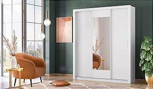 Guarda Roupa Casal  3 Portas de Correr com Espelho Vero Demóbile Branco