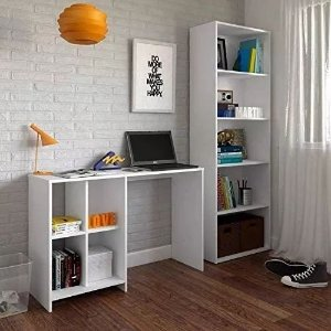 Conjunto Home Office Mesa Matrix+ Estante Multy Artely Branco