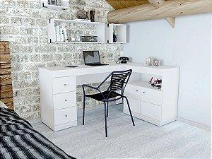 Mesa em L para PC Job Caemmun 3 Gav 2 Portas Branco