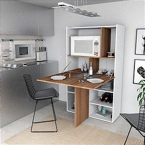 Armário De Cozinha Gourmet 2 portas 1 Nicho Branco Castanho