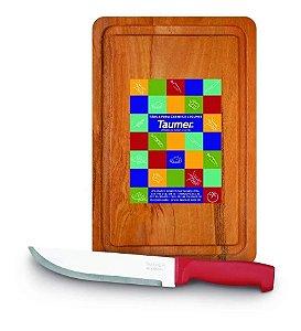 Kit Tábua De Cortar Carne Wood + Faca Inox Taumer