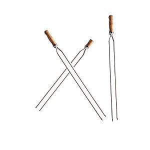 Kit 3 Espetos Duplo de 100 cm com cabo de madeira Tuamer