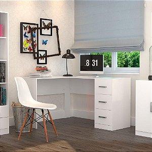 Mesa de Escritorio em L 3 Gavetas Office Plus Appunto Branco
