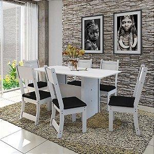 Mesa  De Jantar 6 Lugares Talita Indekes Branco