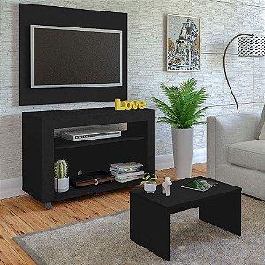 Rack De TV 32  com Painel e Mesa de Centro Cristal Artely Preto