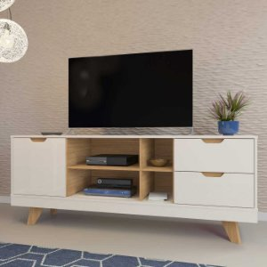 Rack de TV 60 Polegadas Michigan Artely Off White Carvalho