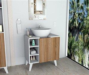 Gabinete De  Banheiro Slim Branco e  Castanho Appunto