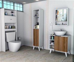 Kit de Banheiro Gabinete + Armário Multiuso + Espelheira Appunto Slim