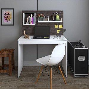 Escrivaninha Para Notebook 1Gav  Artany c/ Painel First -Branco/Terrano