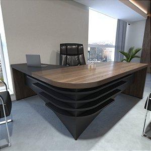 Mesa Para Escritório Em L   Diretor  Artany  LD   Charuto/Preto