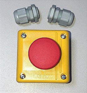 Caixa Botão Emergência + Contato NF + 2 prensa cabos