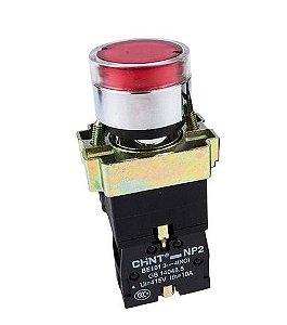 Botão Redondo 22Mm Vermelho NP2 BA40 Cabeça Metalica, Marca Chint