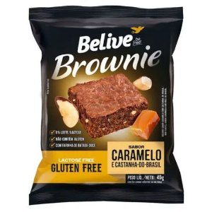Brownie de caramelo com castanha-do-Brasil sem glúten, sem leite/lactose 40g - Belive