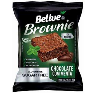Brownie de chocolate com menta sem glúten, sem leite/lactose e sem açúcar 40g - Belive