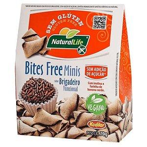 Biscoito Funcional Bites Free Minis Sabor Brigadeiro Produto Vegano, sem açúcar, sem glúten e sem leite 70g - Natural Life