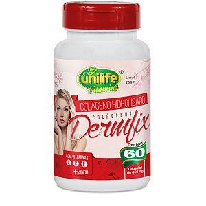 Colágeno Hidrolisado Dermfix – Colágeno hidrolisado com vitaminas A, C, E e Zinco com 60 cápsulas de 450mg – Unilife Vitamins.