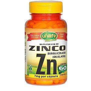 Zinco - Suplemento de Zinco Bisglicinato – Contém 60 cápsulas de 500mg (7mg de Zinco por cápsula) – Unilife Vitamins