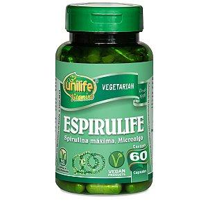 Espirulife - Spirulina máxima. Microalga – 60 cápsulas de 500mg cada -  Unilife Viamins.