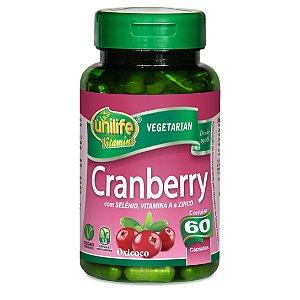 Cranberry com Selênio, Vitamina A e Zinco – Contém 60 cápsulas de 500mg por cápsula – Unilife Vitamins