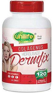 Colágeno Hidrolisado Dermfix – Colágeno hidrolisado com vitaminas A, C, E e Zinco com 120 cápsulas de 450mg – Unilife Vitamins.