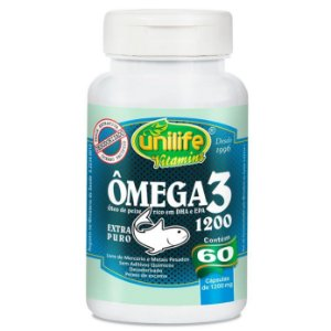 Ômega 3 – Óleo de peixe rico em DHA e EPA – contém 60 cápsulas de 1200mg cada – Unilife Vitamins