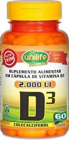 Suplemento Alimentar de Vitamina D3 – Contém 60 cápsulas de 50mcg por cápsula – Unilife Vitamins