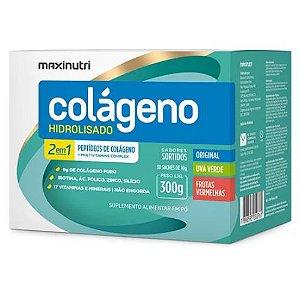 Colágeno Hidrolisado 30 sachês de 10g cada enriquecido com biotina, ác. fólico, zinco e silício – Sabores sortidos (Orignal, uva verde e frutas vermelhas) - Maxinutr