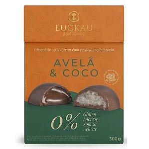 Ovo de páscoa sem glúten, sem leite, sem soja e zero açúcar, com chocolate 50% cacau, avelã e coco 300g - Luckau