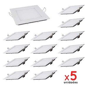 Kit 5 PLAFON 18w Luminárias Painel LED Embutir QUADRADO Branco Quente SLIM