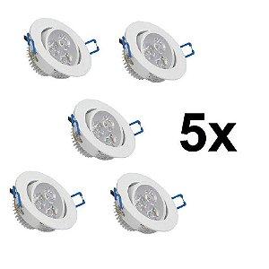 Kit 5 Spot Led Dicróica Embutir Redondo Direcionável 3w Branco Frio 6000k Bivolt