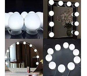 Luz Camarim 3 Cores 10 Lâmpadas Espelho Led Auto-colantes