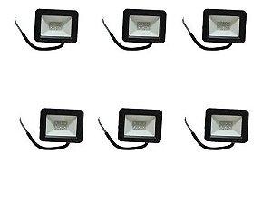 Kit 6 Refletor Holofote Led 10w Ip66 Branco Frio - Bivolt