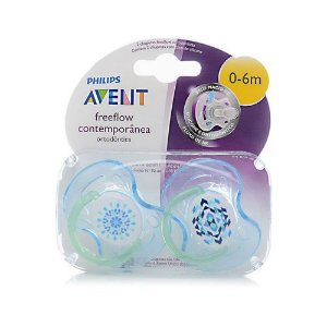 KIT 2 CHUPETAS PHILIPS AVENT FREEFLOW CONTEMPORÂNEA 0-6MESES