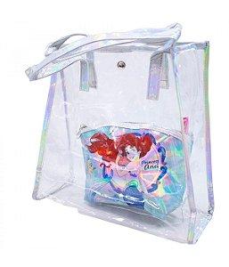 Bolsa Transparente Com Necessaire - A Pequena Sereia Ariel Disney