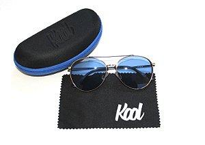 Óculos de Sol Feminino Aviador - Lente Azul