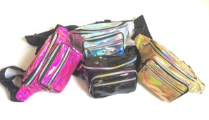 Pochete Holográfica Metalizada Modelo 4 Bolsos Rosa