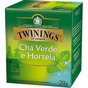 CHÁ VERDE E HORTELÃ TWININGS CAIXA C/ 10 SAQUINHOS 20G