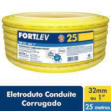 ELETRODUTO CORRUGADO PVC 32mm AMARELO FORTLEV COM 25MT COD IND 13000320